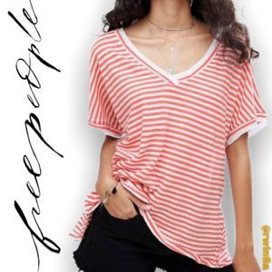 Take Me Stripe Tee Shirt V-Neck Size Medium NWT
